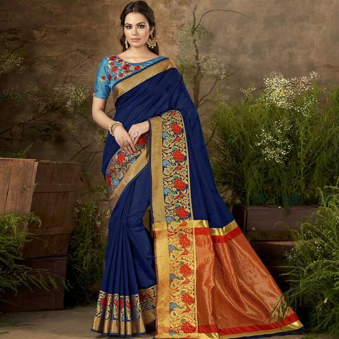 Jazzy Blue Colored Festive Wear Woven Cotton Silk Saree