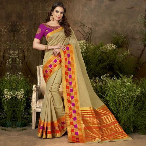 Prominent Beige Colored Festive Wear Woven Cotton Silk Saree
