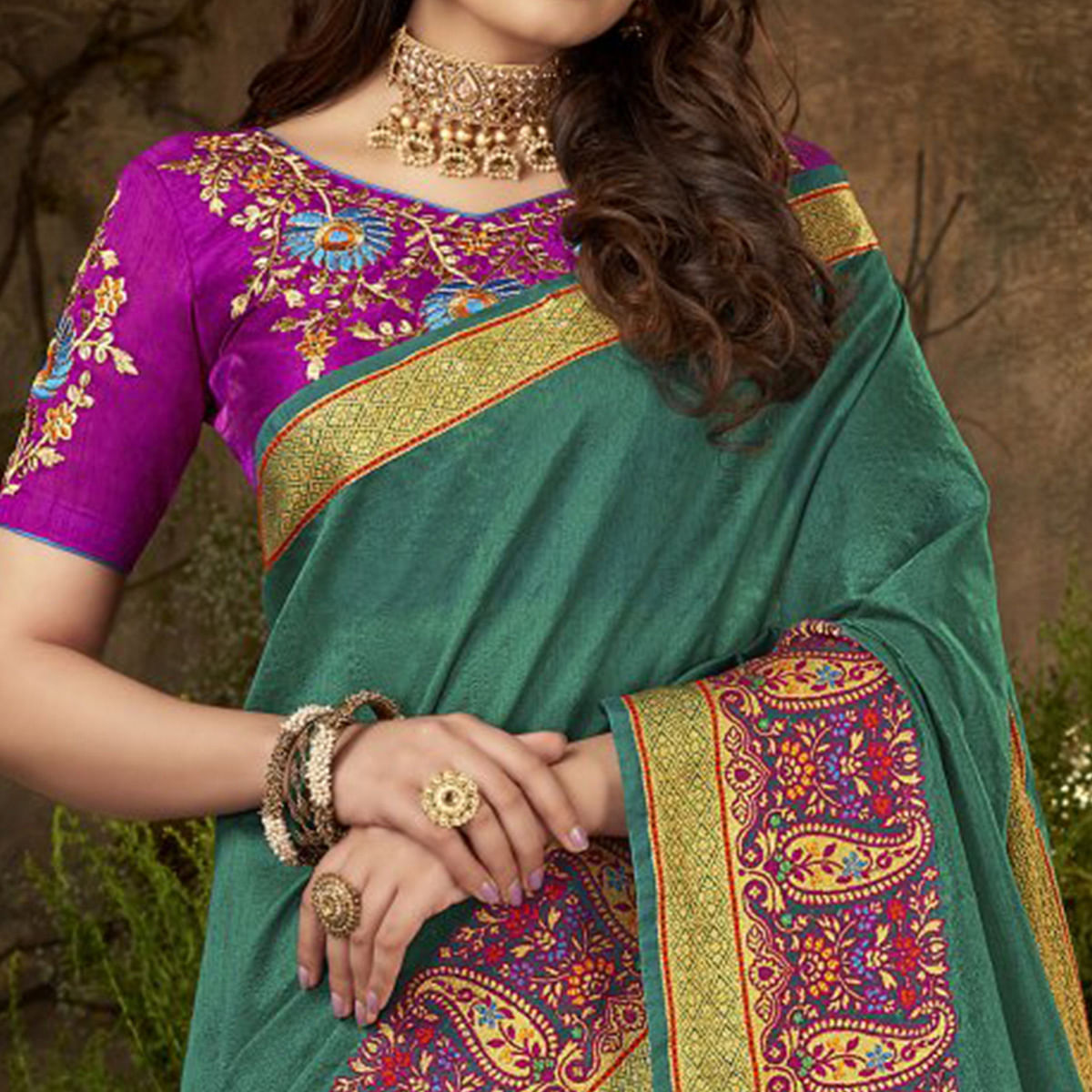 Capricious Teal Green Colored Festive Wear Woven Cotton Silk Saree