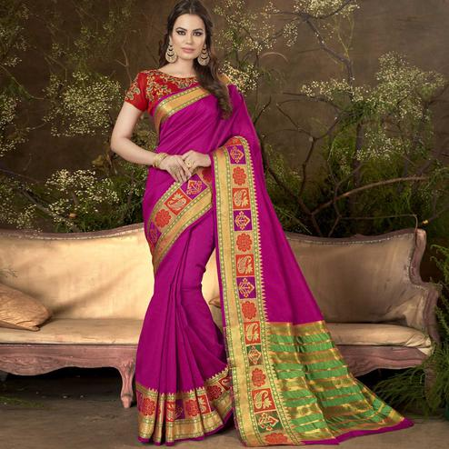 Trendy Magenta Pink Colored Festive Wear Woven Cotton Silk Saree