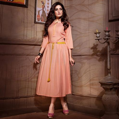 Demanding Peach Colored Partywear Heavy Rayon Fancy Kurti