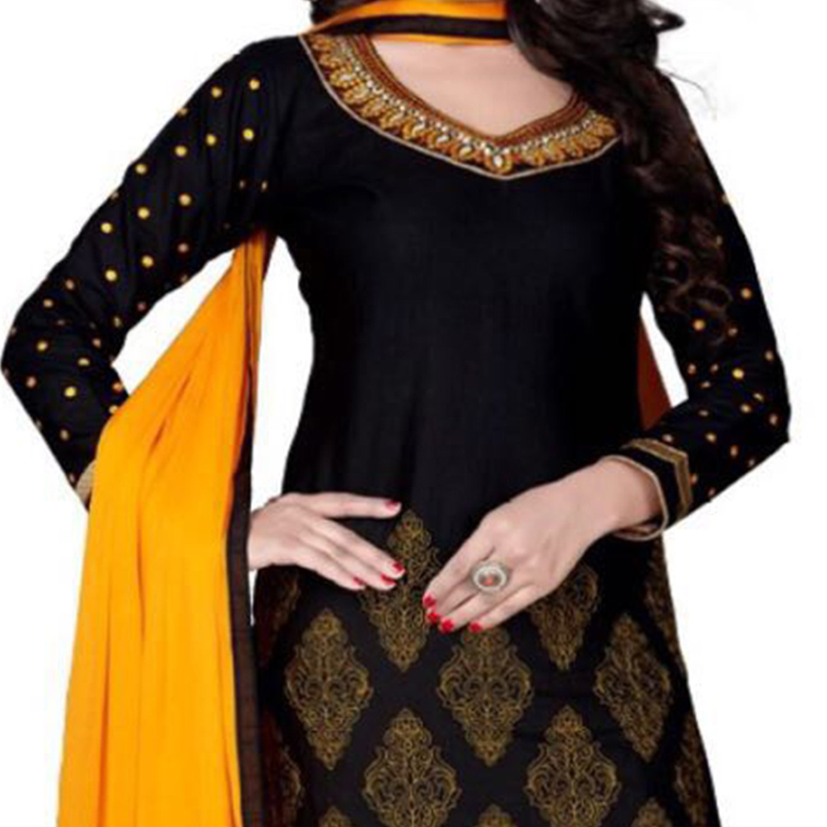 Gorgeous Black Cotton Designer Dress Material