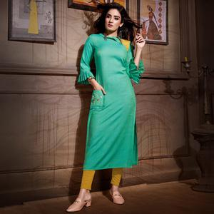 Refreshing Turquoise Green Colored Partywear Heavy Rayon Fancy Kurti