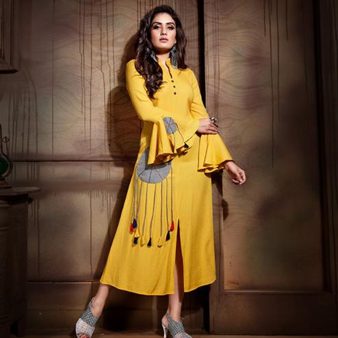 Glowing Yellow Colored Partywear Heavy Rayon Fancy Kurti