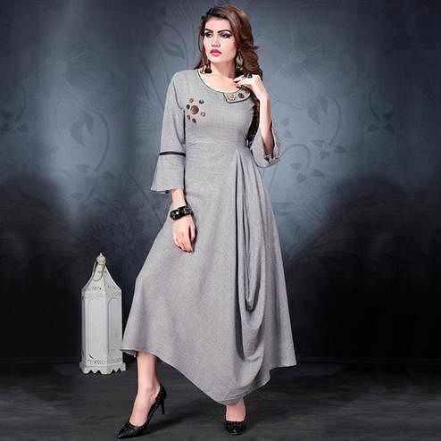 Marvellous Light Gray Colored Partywear Heavy Rayon Fancy Kurti