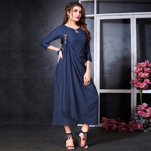 Impressive Navy Blue Colored Partywear Heavy Rayon Fancy Kurti