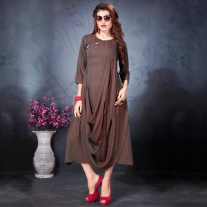 Blooming Brown Colored Partywear Heavy Rayon Fancy Kurti