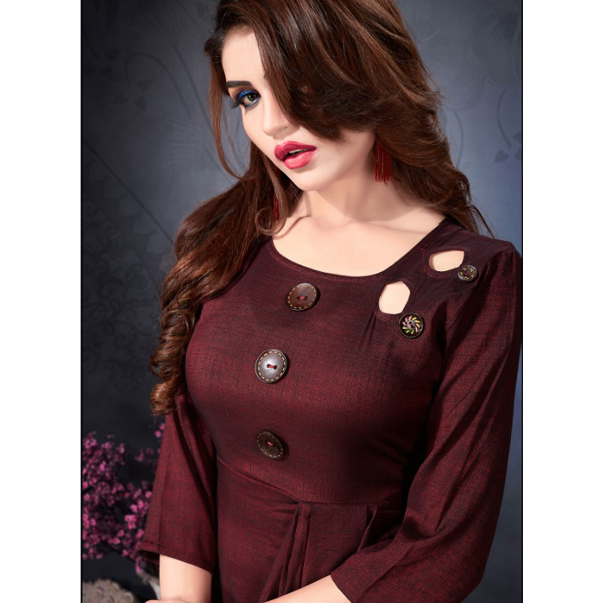 Pretty Maroon Colored Partywear Heavy Rayon Fancy Kurti