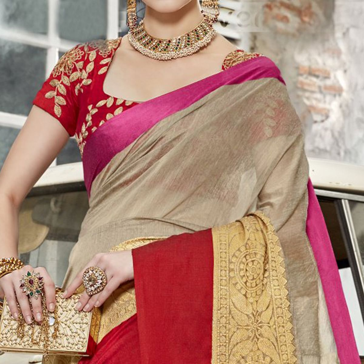 Dazzling Grey Colored Festive Wear Woven Art Silk Saree
