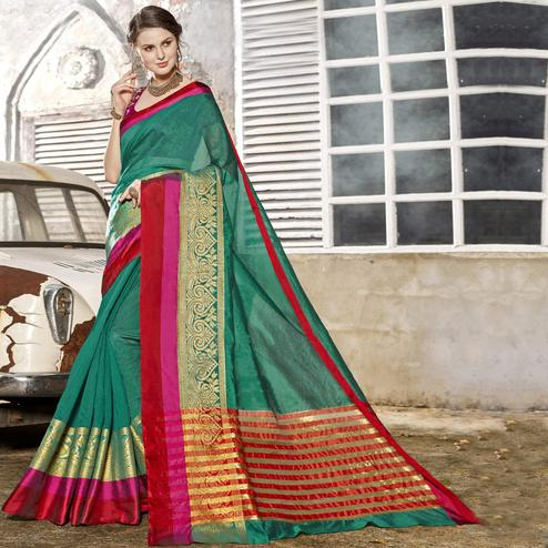 Innovative Teal Green Colored Festive Wear Woven Art Silk Saree