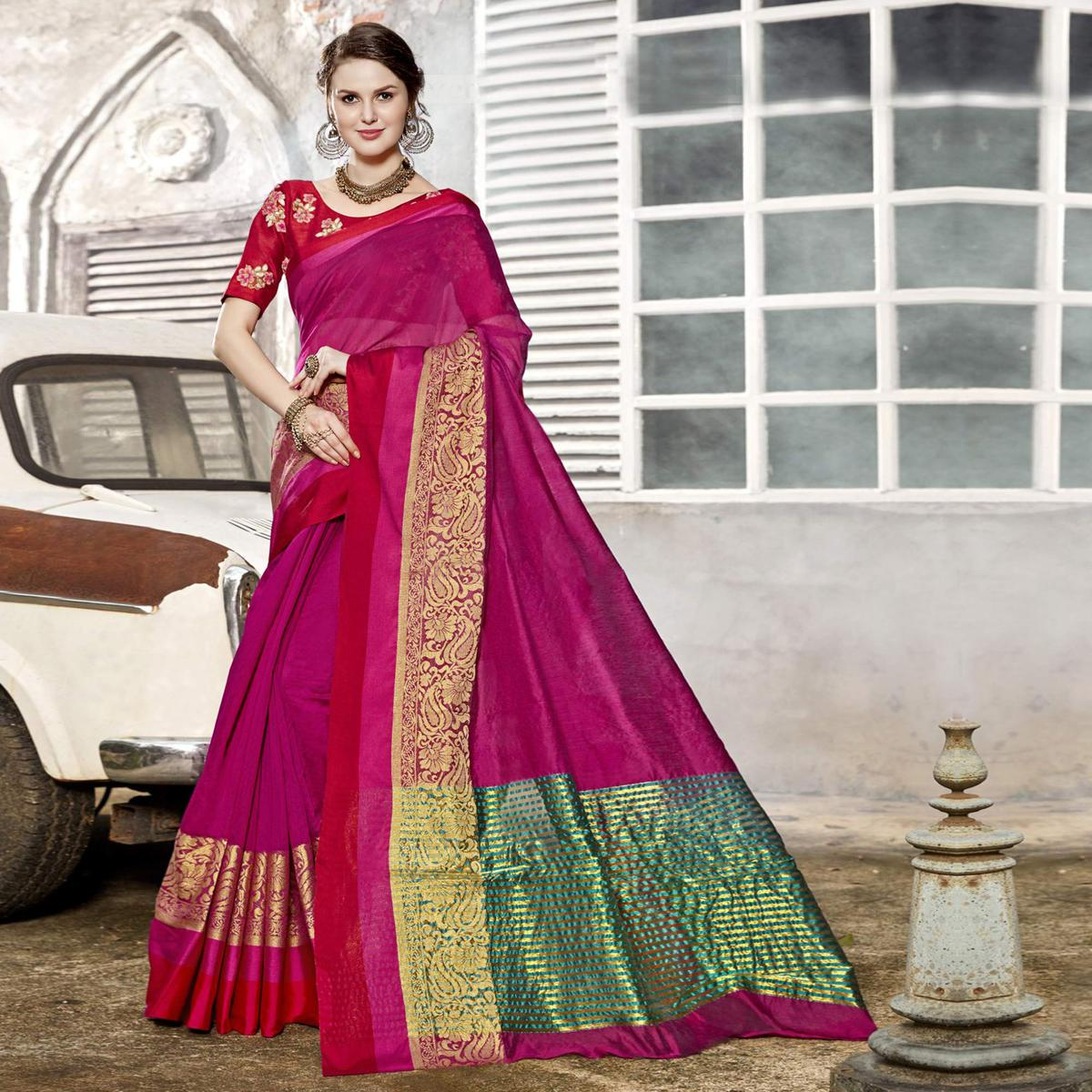 Gleaming Magenta Pink Colored Festive Wear Woven Art Silk Saree