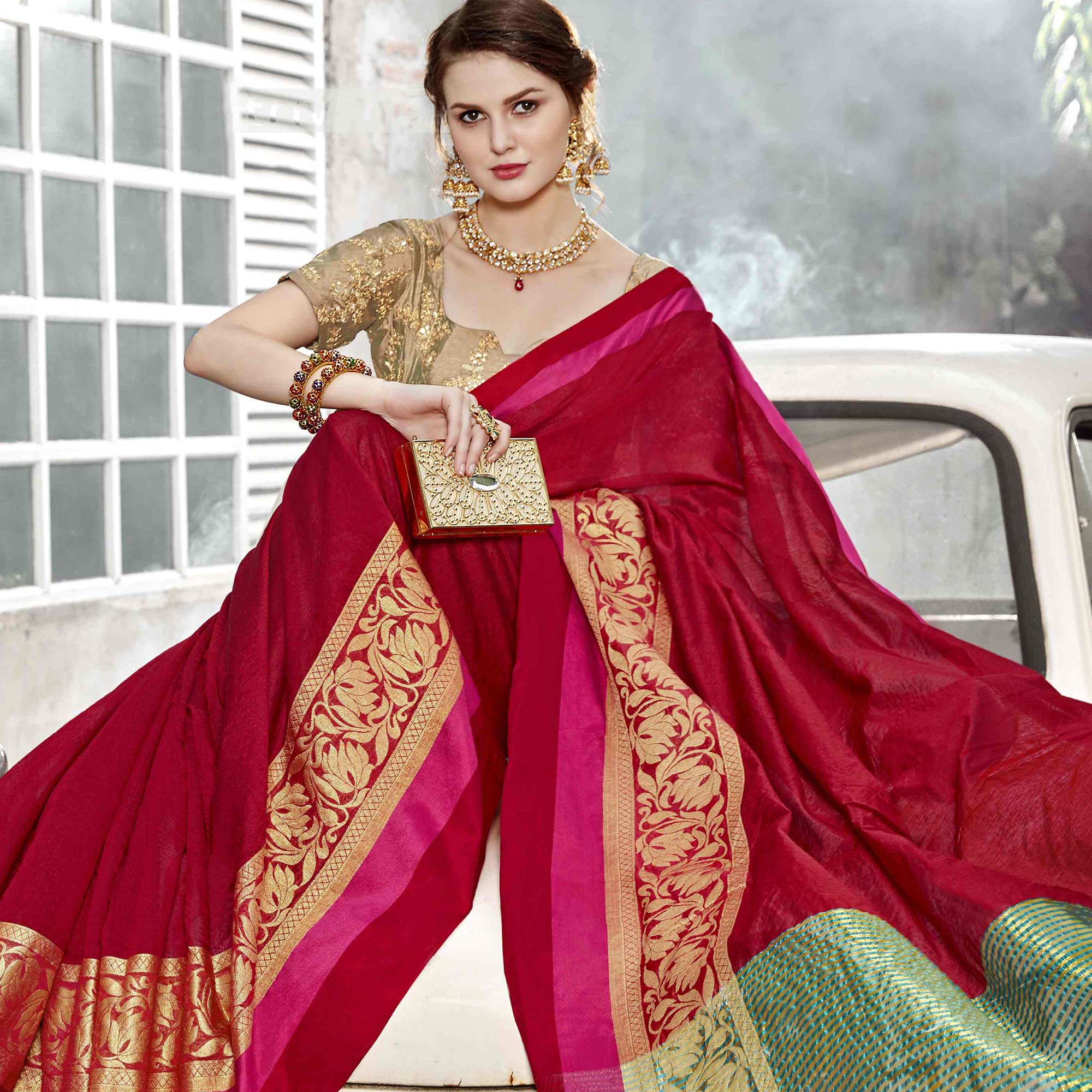 Arresting Red Colored Festive Wear Woven Art Silk Saree