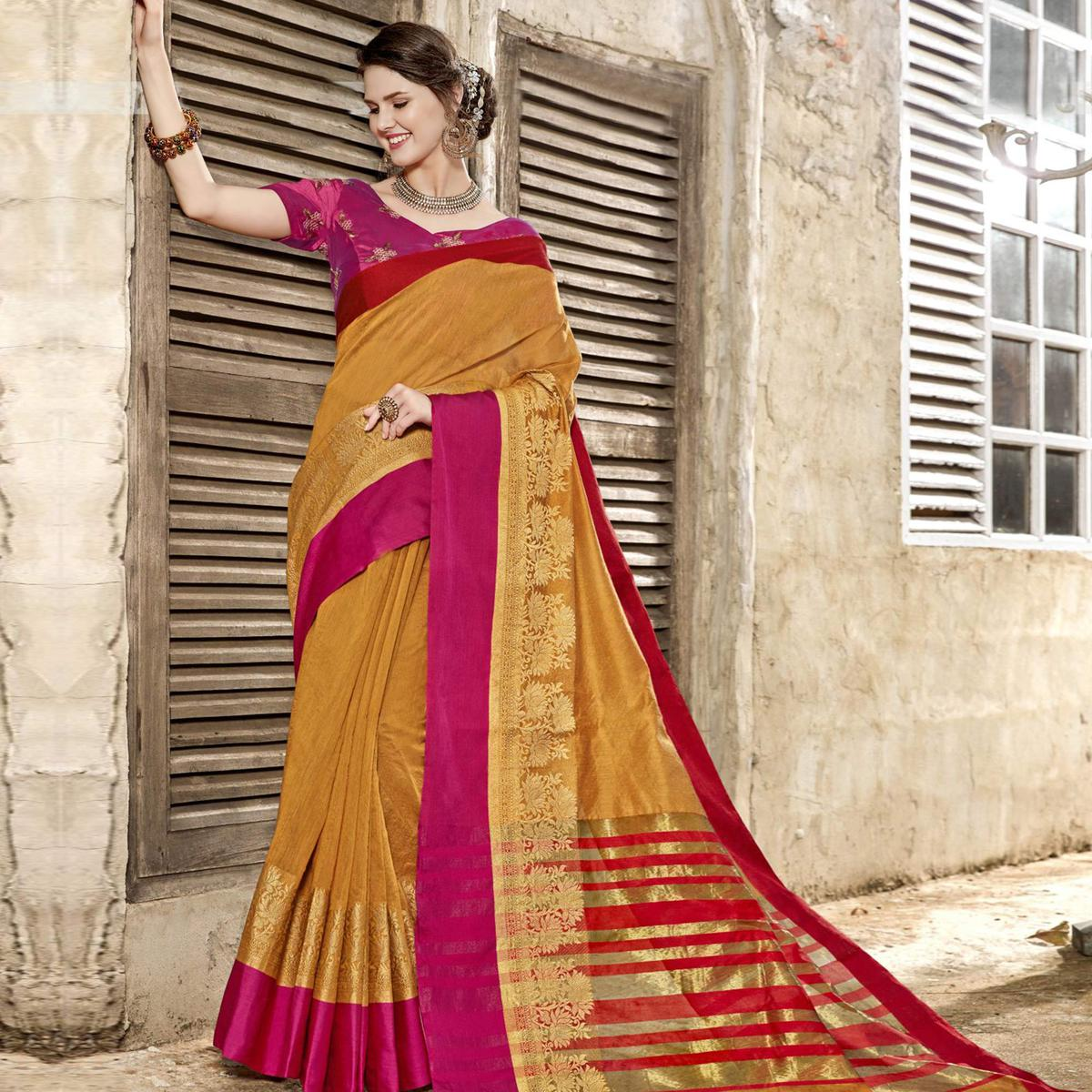 Starring Mustard Yellow Colored Festive Wear Woven Art Silk Saree