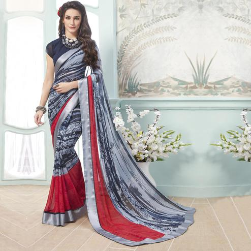 Entrancing Grey - Black Colored Casual Wear Printed Georgette Saree