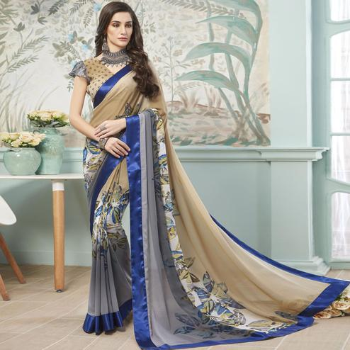 Blissful Beige - Grey Colored Casual Wear Printed Georgette Saree