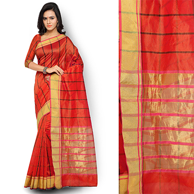 Red Checkered Woven Saree