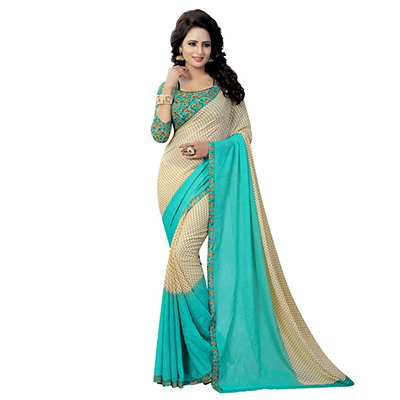 Beautiful Beige Floral Printed Casual Grorgette Saree