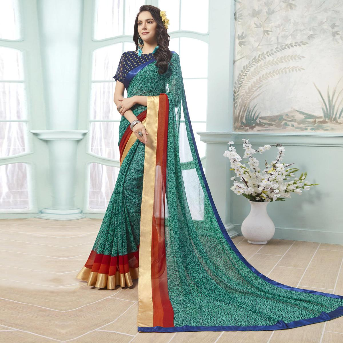 Fantastic Rama Green Colored Casual Wear Printed Georgette Saree