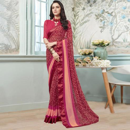 Jazzy Maroon Colored Casual Wear Printed Georgette Saree