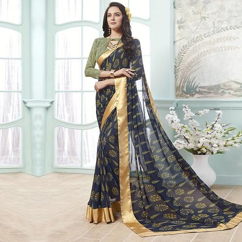 Groovy Blue Colored Casual Wear Printed Georgette Saree