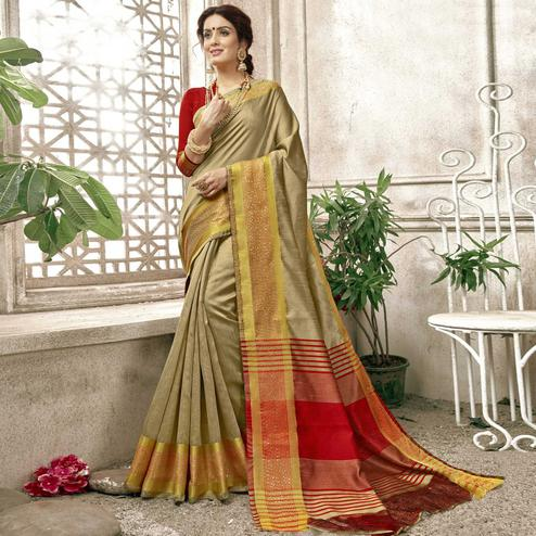 Adorable Chiku Colored Festive Wear Woven Cotton Saree
