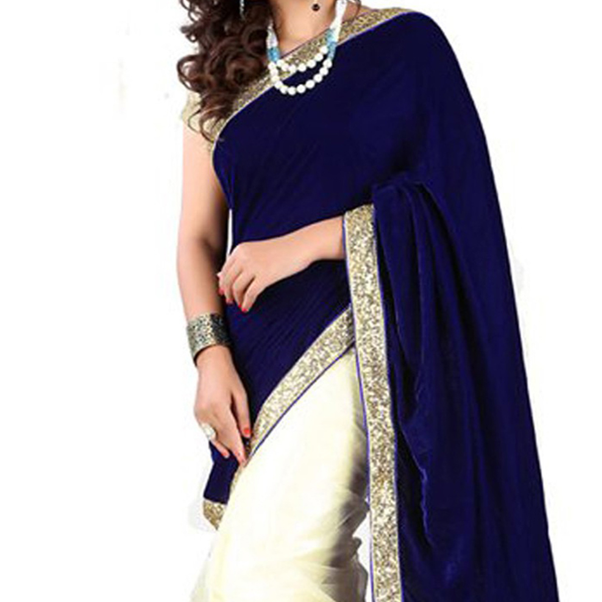 Navy Blue - Beige Half & Half Saree