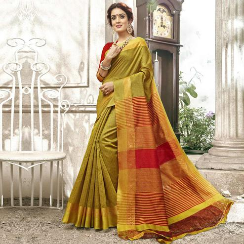 Sophisticated Golden Colored Festive Wear Woven Cotton Saree