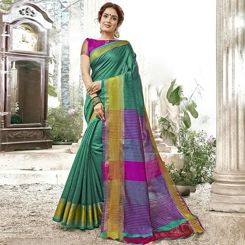 Demanding Turquoise Green Colored Festive Wear Woven Cotton Saree