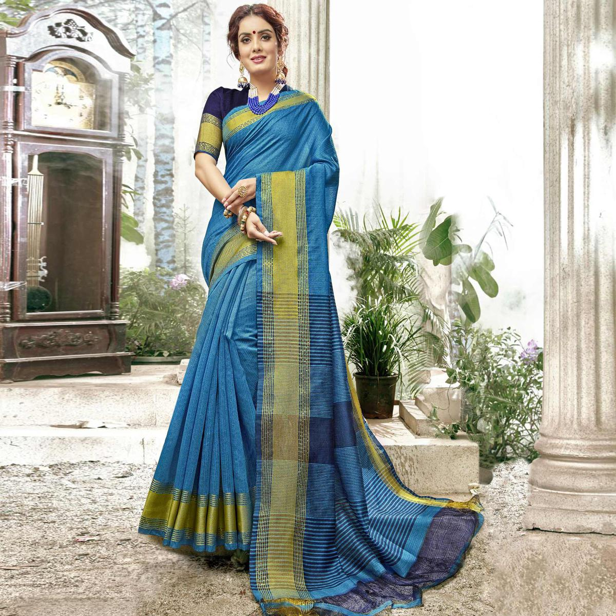 Pleasant Blue Colored Festive Wear Woven Cotton Saree