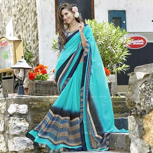 Elegant Sky Blue Colored Casual Printed Faux Georgette Saree