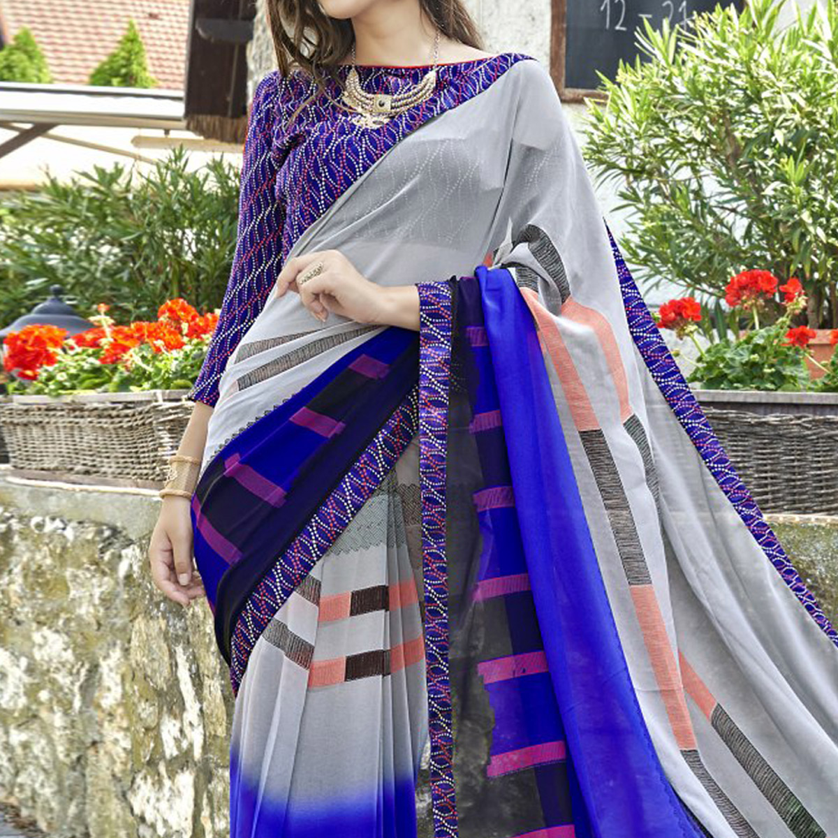 Alluring Gray-Blue Colored Casual Printed Faux Georgette Saree