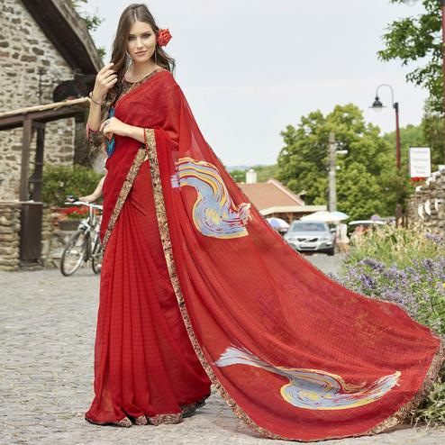 Trendy Red Colored Casual Printed Faux Georgette Saree