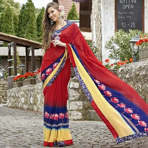 Hypnotic Red Colored Casual Printed Faux Georgette Saree