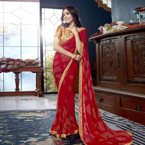 Flirty Red Colored Casual Printed Faux Georgette Saree
