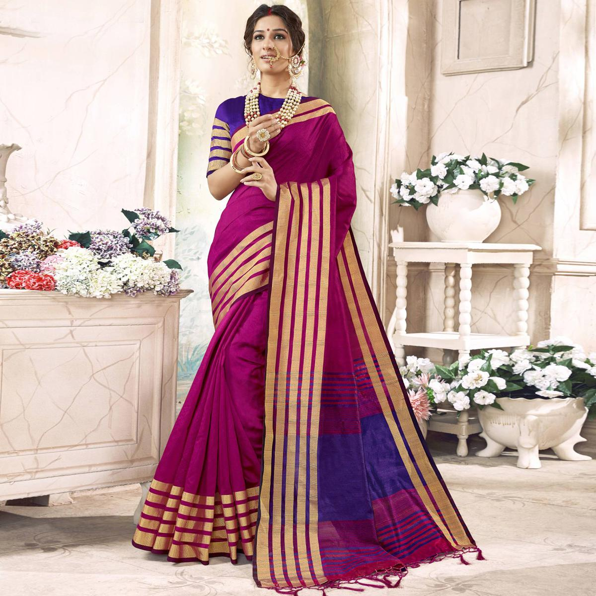 Groovy Violet Colored Festive Wear Woven Art Silk Saree