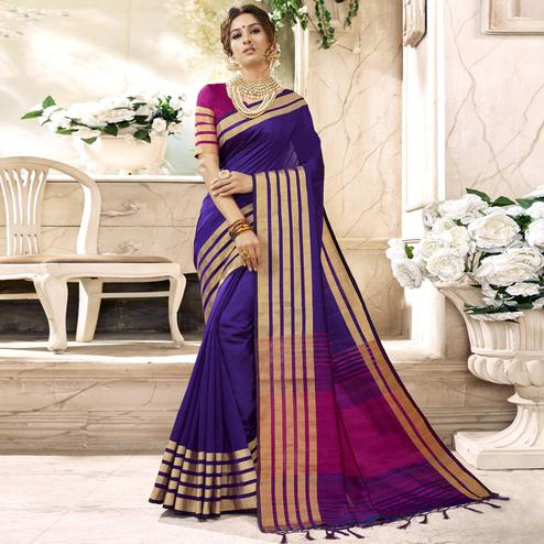 Appealing Purple Colored Festive Wear Woven Art Silk Saree