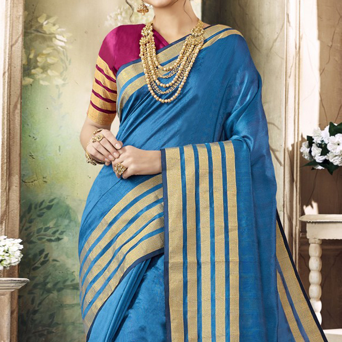 Jazzy Sky Blue Colored Festive Wear Woven Art Silk Saree