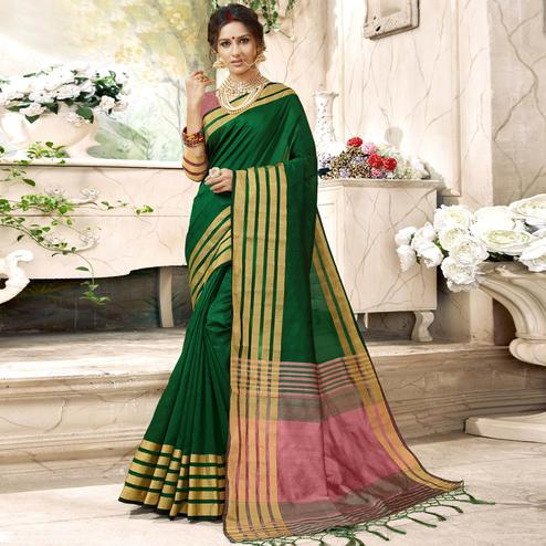 Ravishing Dark Green Colored Festive Wear Woven Art Silk Saree