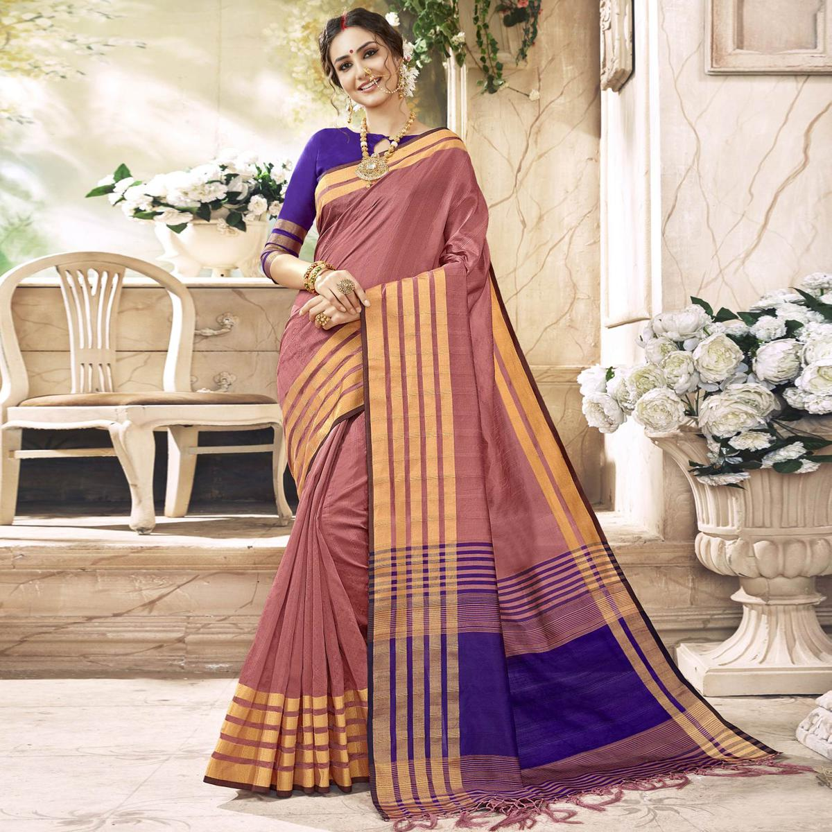 Charming Mauve Colored Festive Wear Woven Art Silk Saree