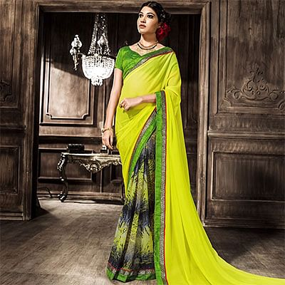Lime Yellow Printed Georgette Saree