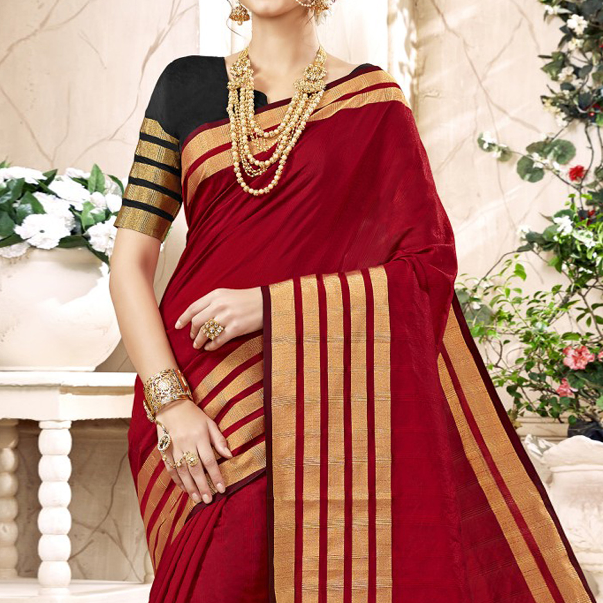 Pretty Red Colored Festive Wear Woven Art Silk Saree