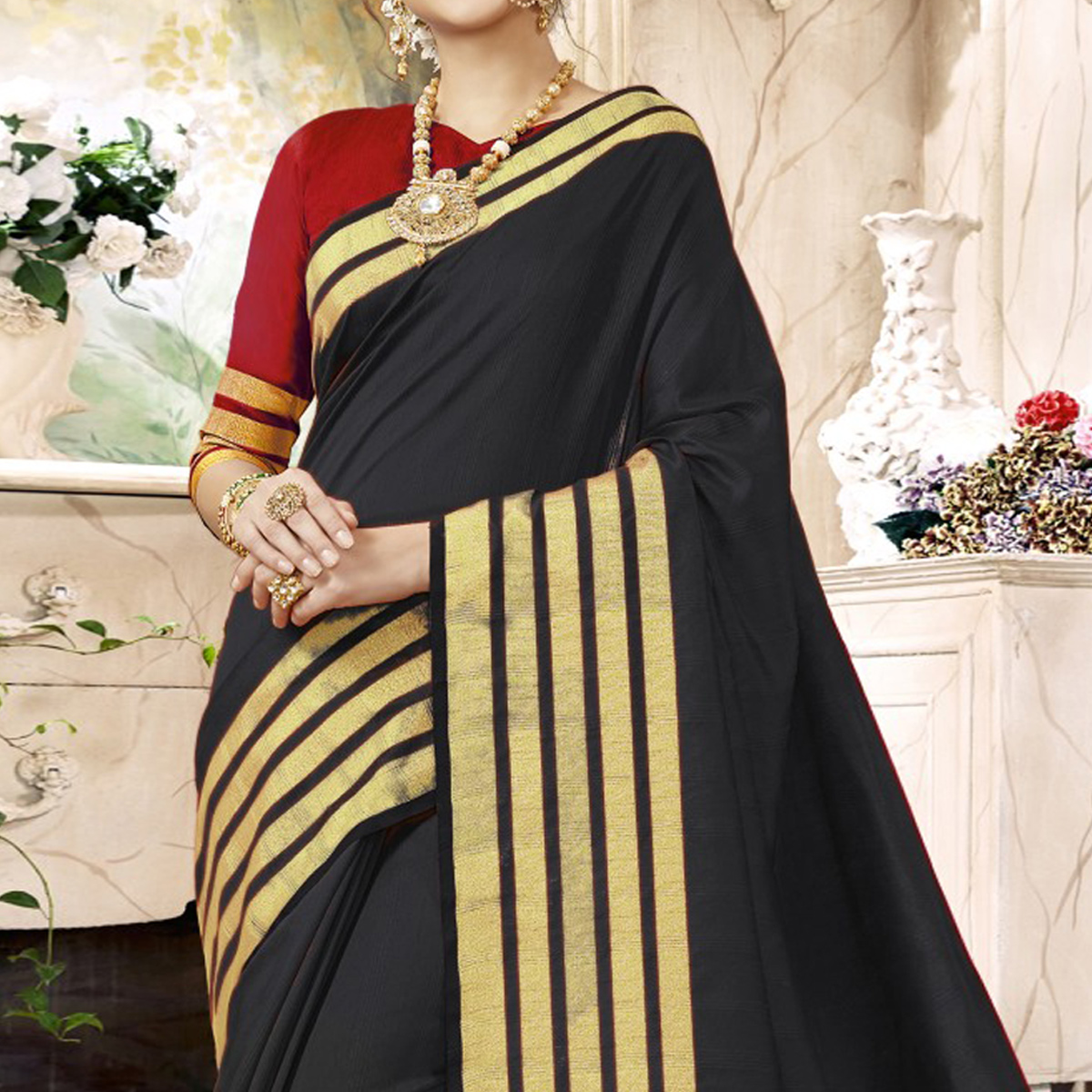 Lovely Black Colored Festive Wear Woven Art Silk Saree