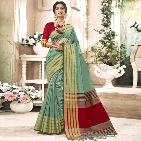 Graceful Light Green Colored Festive Wear Woven Art Silk Saree