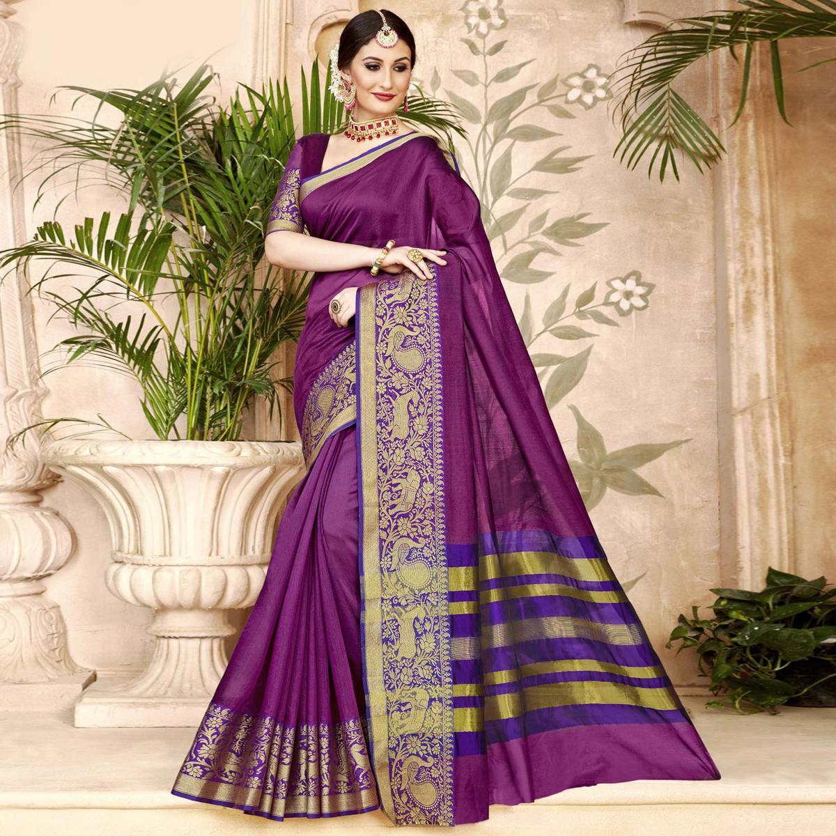 Classy Violet Colored Festive Wear Woven Art Silk Saree