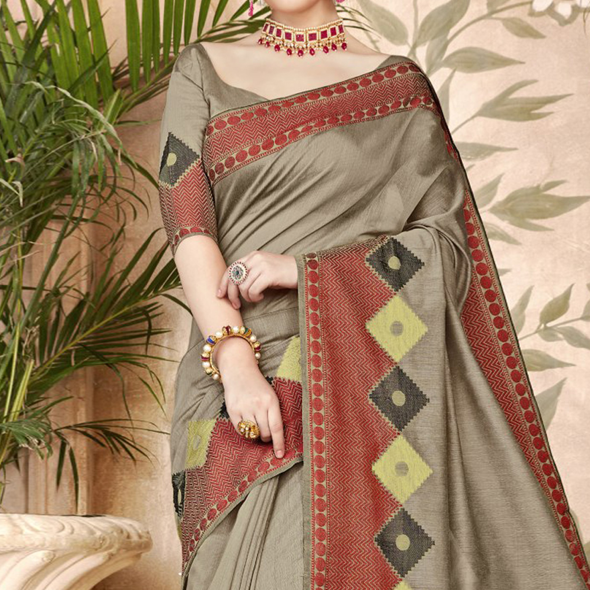 Gorgeous Gray Colored Festive Wear Woven Art Silk Saree