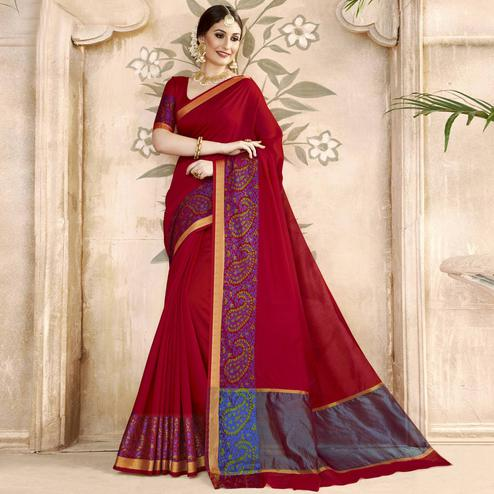 Beautiful Maroon Colored Festive Wear Woven Art Silk Saree