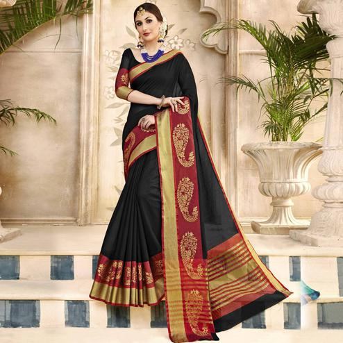 Preferable Black Colored Festive Wear Woven Art Silk Saree
