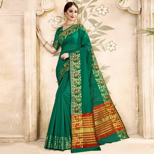 Majesty Green Colored Festive Wear Woven Art Silk Saree