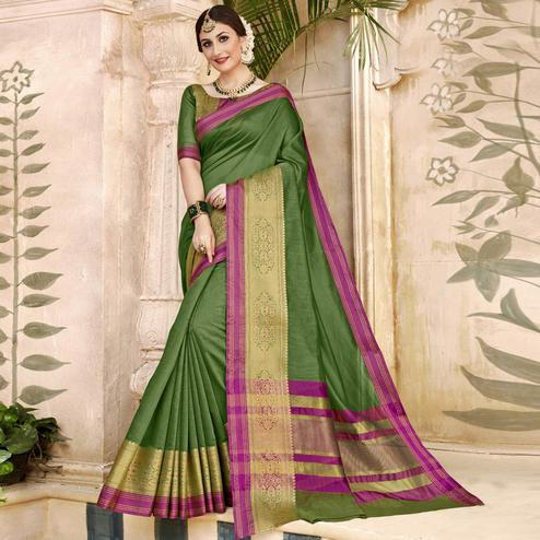 Amazing Light Green Colored Festive Wear Woven Art Silk Saree