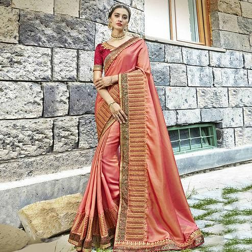 Charming Peach Colored Partywear Embroidered Silk Saree